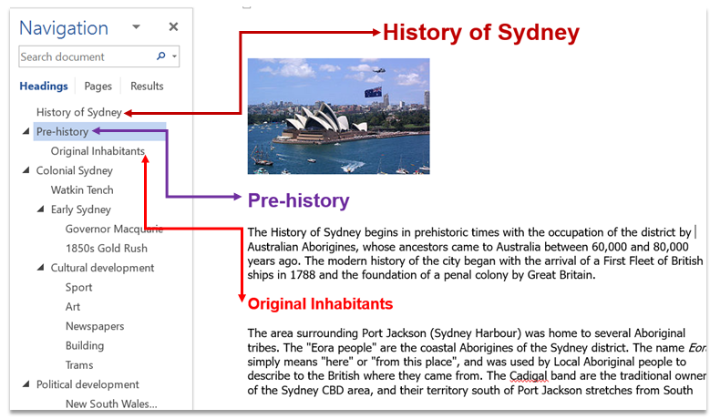 screen shot showing the relationship between headings and document navigation