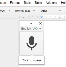 Microphone symbol in Google Docs