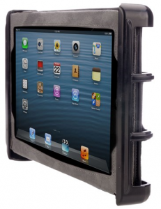 Black plastic cradle holding iPad in landscape position