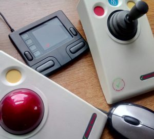 group of alternative computer mice. Rollerball, trackpad and joystick