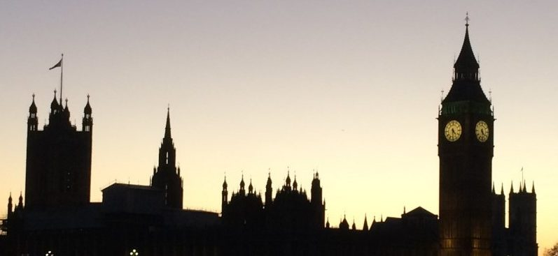 Skyline featuring silhouette of UK houses of parliament