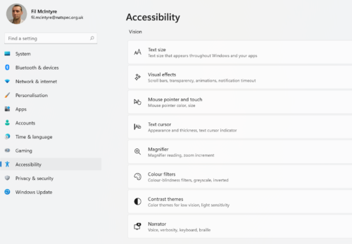Windwos 11 Settings menu showing Accessibility options