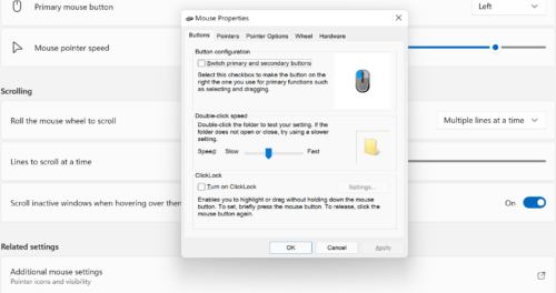 Windows settings showing pop-up window for additional mouse settings